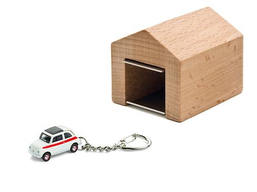 Schlüsselanhänger Fiat 500 Sport mit Garage