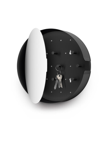 Schlüsselkasten mit Spiegel Nolma mit 6 Haken, Ø 28 cm | schwarz