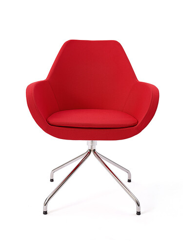 Sessel Fan Metall, hochglanzverchromt | rot