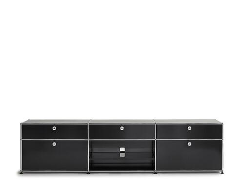 USM Sideboard 3-fach breit | 2 Klapptüren, 3 Schübe, 1 Fach offen mit Tablar | graphitschwarz