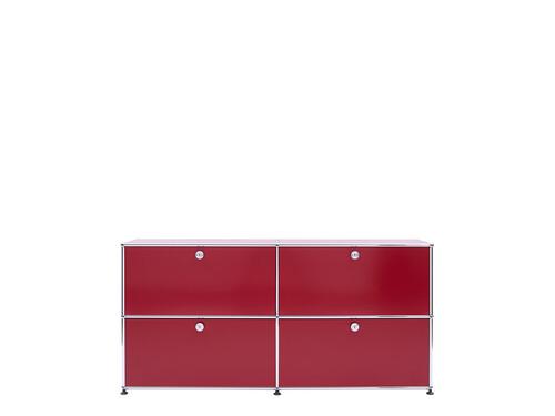 USM Sideboard 2-fach breit   4 Klapptüren   rubinrot