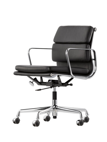Bürodrehsessel Soft-Pad mittelhoher Rücken   Leder, schwarz, verchromt