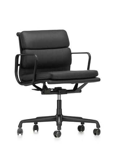 Bürodrehsessel Soft-Pad mittelhoher Rücken | Leder, schwarz, tiefschwarz