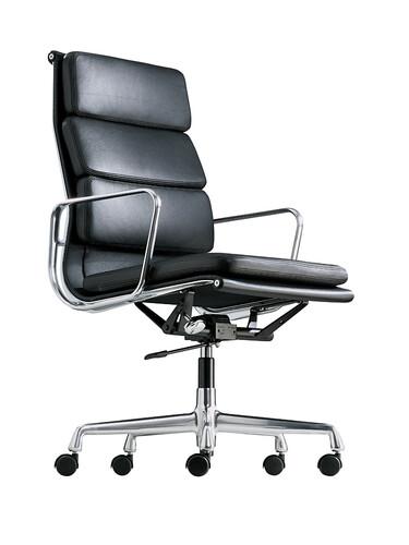 Bürodrehsessel Soft-Pad hoher Rücken | Leder, schwarz, verchromt