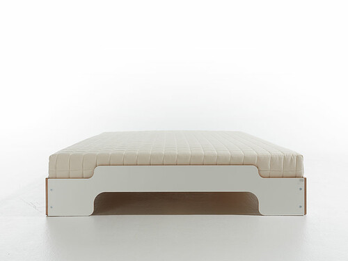 Stapelliege Komfort B 140 cm | weiß mit Birkekante