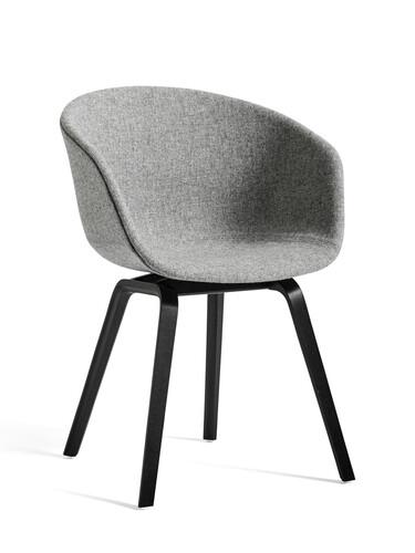Armlehnstuhl About A Chair AAC AAC23, Gestell: Eiche schwarz | Sitzschale: gepolstert | grau meliert