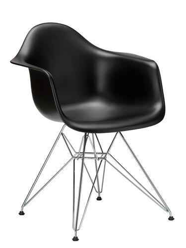 Stuhl Eames Plastic Armchair DAR ungepolstert | tiefschwarz