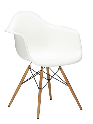 Stuhl Eames Plastic Armchair DAW Esche, eichefarbig   weiß