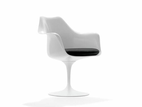 Stuhl Saarinen Tulip Armlehnstuhl | weiß mit schwarzem Polster