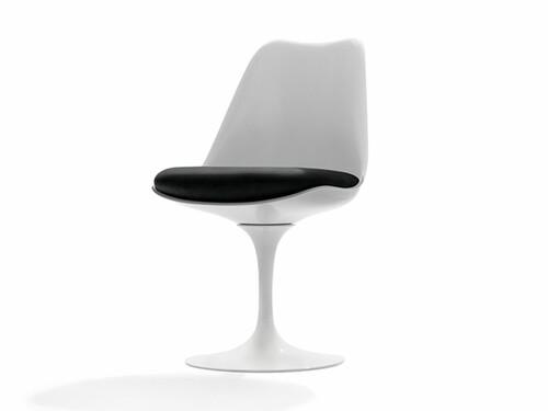 Stuhl Saarinen Tulip Stuhl | weiß mit schwarzem Polster