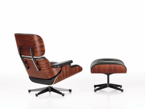 Lounge Chair XL und Ottoman Lounge Chair XL mit Ottoman, Höhe 89 cm (Neue Maße von 2010) | Palisander, Bezug Leder schwarz