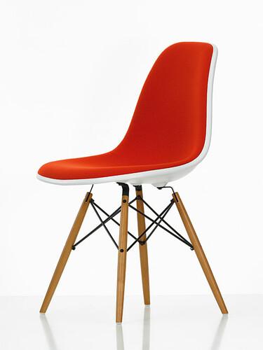 Eames Plastic Sidechair DSW 46,5 | Sitzschale weiss, Vollpolster orange