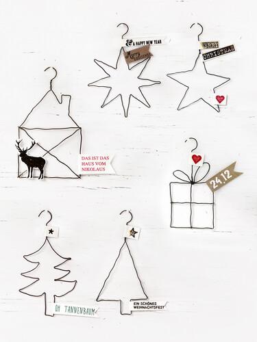 Weihnachtsanhänger X-mas Drahtornamente