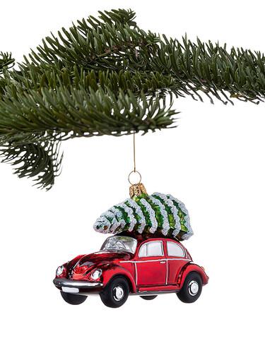 Weihnachtsbaumanhänger VW-Käfer mit Weihnachtsbaum