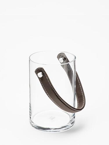 Windlicht Spirit H 15 cm, Ø 10 cm | Glas/Leder