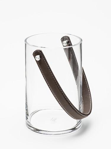 Windlicht Spirit H 18 cm, Ø 12 cm | Glas/Leder